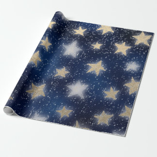 Stars Galaxy Sky Navy Blue Night Sepia Gold Blush Wrapping Paper