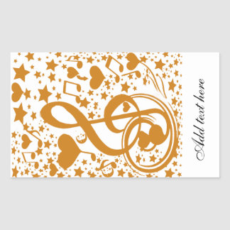 Stars,Hears and The Music Notes,Gold_ Rectangular Sticker