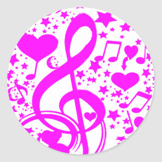 Stars,Hearts and The music notes-Pink_ Sticker