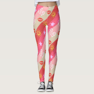 Stars Hearts Lips Pattern Leggings
