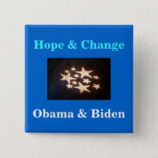 stars, Hope & Change, Obama & Biden 15 Cm Square Badge