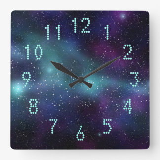 Stars in Space Purple Blue Green Dotted Numbers Square Wall Clock