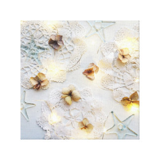 Stars, lights and flowers canvas print