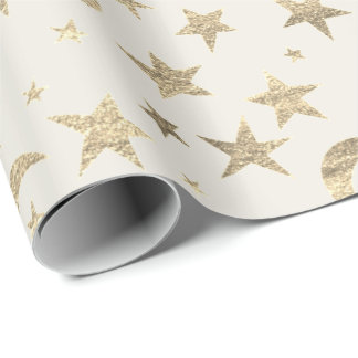 Stars Moon Ivory Creamy Gold Metal Sky Champaign Wrapping Paper