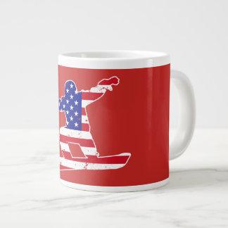Stars 'n' Stripes SNOWBOARDER (wht) Large Coffee Mug