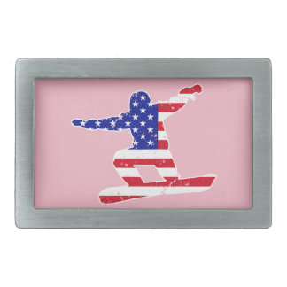 Stars 'n' Stripes SNOWBOARDER (wht) Rectangular Belt Buckle