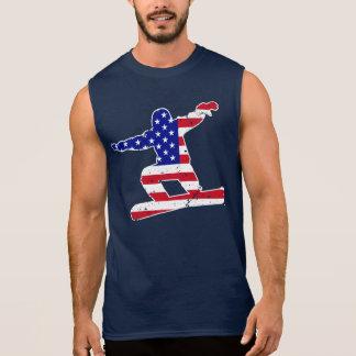 Stars 'n' Stripes SNOWBOARDER (wht) Sleeveless Shirt
