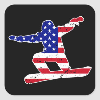 Stars 'n' Stripes SNOWBOARDER (wht) Square Sticker