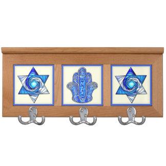 Stars of David and Hamsa Shalom Coat Rack
