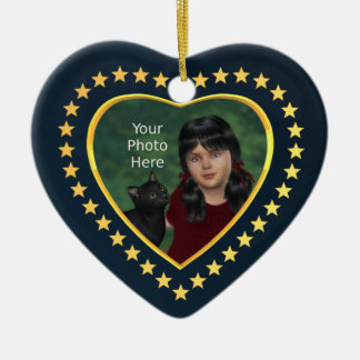 Stars on Midnight Blue: Add Own Photo Ceramic Heart Decoration