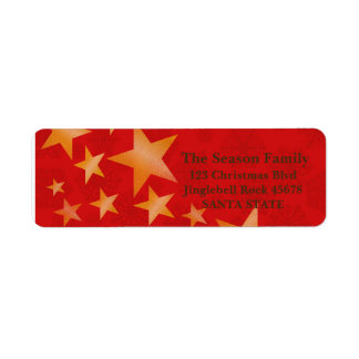 Stars on red Holiday Address Label