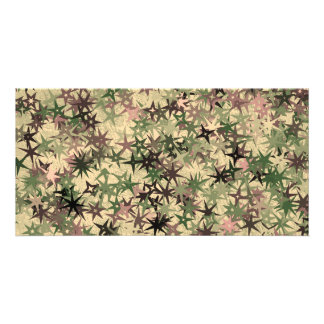 Stars Pattern in Camouflage Colors Photo Greeting Card
