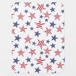 Stars pattern in color of the USA flag Pram blankets