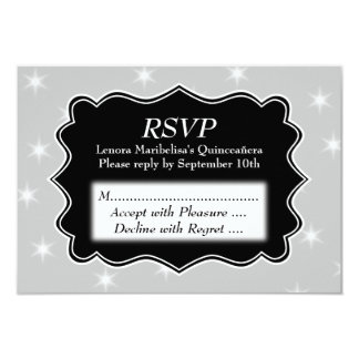 """Stars Pattern in Gray and White Quinceanera 3.5"""" X 5"""" Invitation Card"""