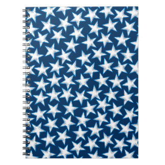 Stars printed embroidery spiral notebook