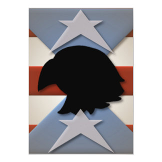 Stars Red Blue Flag Eagle Silhouette Card
