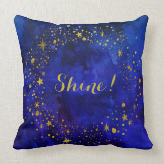 """Stars & """"Shine"""" in Gold on Blue Watercolor Cushion"""