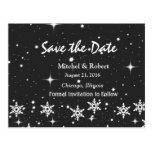 Stars Snowflakes Christmas Wedding Save the Date Postcard