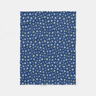Stars Space Pattern Retro 1960s Geometric Blue Fleece Blanket