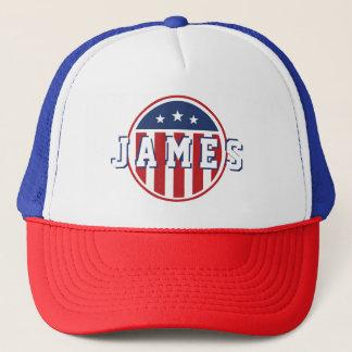 Stars &  Spangled US American Flag. Add Name. Trucker Hat