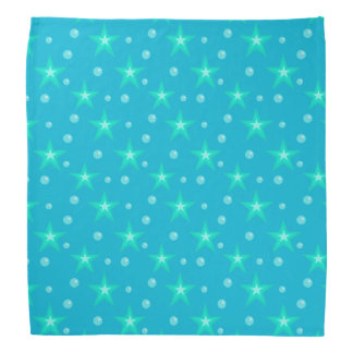 Stars Starry Bubbles Blue Mermaid Fantasy Nautical Bandana