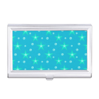 Stars Starry Bubbles Blue Mermaid Fantasy Nautical Business Card Holder
