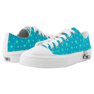 Stars Starry Bubbles Blue Mermaid Fantasy Nautical Low Tops