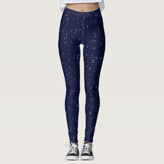 Stars Starry Night Starfield Glittery Navy Blue Leggings