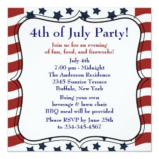 Stars Stripes 4th of July BBQ Party 13 Cm X 13 Cm Square Invitation Card