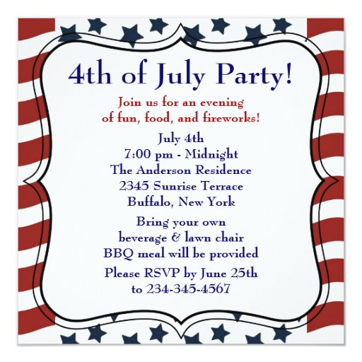 Stars Stripes 4th of July BBQ Party 13 Cm X 13 Cm Square Invitation Card