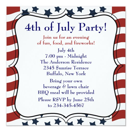 Stars Stripes 4th of July BBQ Party Card