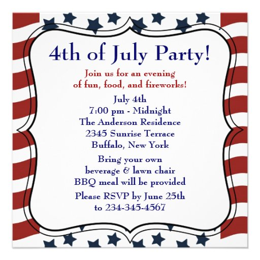 July 4th Party Invitation Template