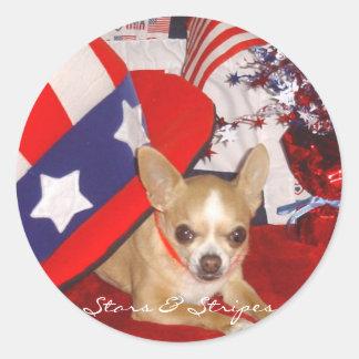 Stars & Stripes Chihuahua Pin Classic Round Sticker