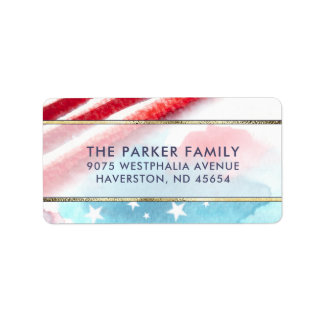 Stars & Stripes Colourful Watercolor Red White Address Label