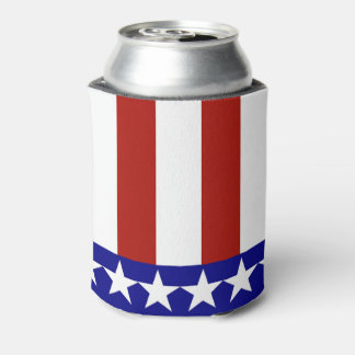 Stars & Stripes of Red White And Blue Can Cooler