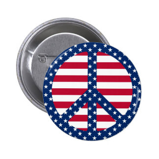 Stars & Stripes Peace Symbol Button