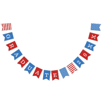 Stars & Stripes Red White Blue Graduate Bunting