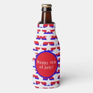 Stars & Stripes Red White & Blue Pattern Bottle Cooler