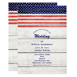 Stars & Stripes White Rustic Wood Patriotic Party Card