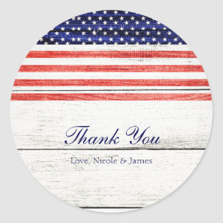 Stars & Stripes White Rustic Wood Patriotic Party Classic Round Sticker