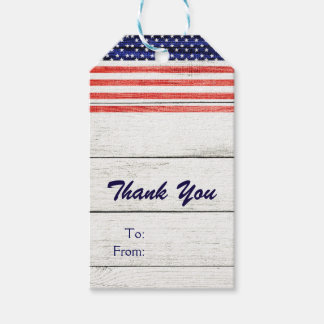 Stars & Stripes White Rustic Wood Patriotic Party Gift Tags