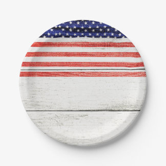 Stars & Stripes White Rustic Wood Patriotic Party Paper Plate