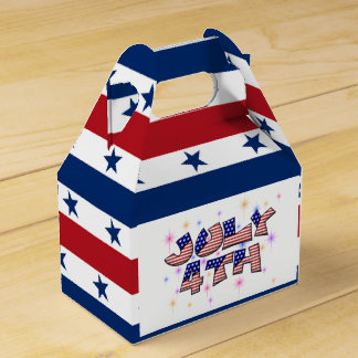 Stars stripes word art July Fourth Party favor box