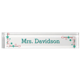 Stars Teacher's Custom Desk Nameplate