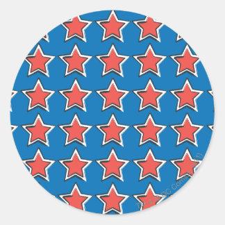 Stars with Blue Background Round Sticker