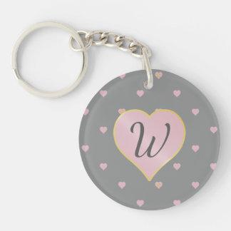 Stars Within Hearts on Gray Acrylic Keychain
