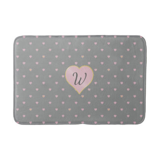 Stars Within Hearts on Gray Bath Mat