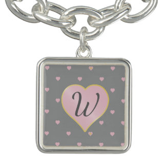 Stars Within Hearts on Gray Charm Bracelet