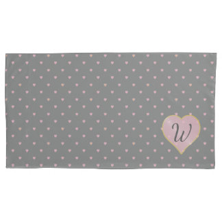 Stars Within Hearts on Gray Pillow Case