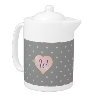 Stars Within Hearts on Gray Teapot